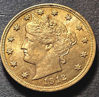 1912 Liberty V Nickel 5c High Grade Toned UNC W Luster Collectible Type Coin