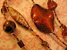"38"" Strand Statement Necklace Root Beer Coppery Brown Stone &  Lucite Beads"