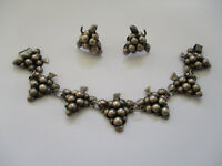 vintage Grapes Mexican Mexico Sterling Silver Bracelet Sculptural Earrings Set