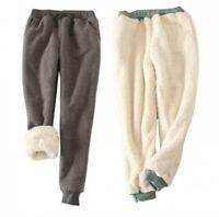 Women's Long Harem Sweatpants Thicken Warm Faux Fur Lined Casual Winter Pants B
