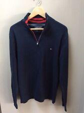 Tommy Hilfiger Half Zip Cotton Knit Jumper Sweatshirt In Navy Red Size Medium