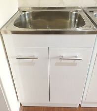 45L Gloss White Timber Cabinet Laundry Trough Unit
