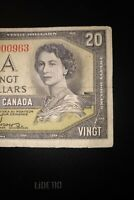 1954 Devil's Face $20 Dollar Bank of Canada Banknote BE3900963