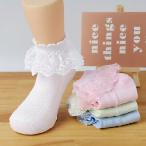 4 Pairs Toddler Baby Girls Lace Princess Socks Cotton Ruffled Solid Ankle Socks