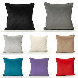 "NEW Plain Soft French Velvet Piped Cushion Covers Plush 43cm x 43cm / 17x17"""