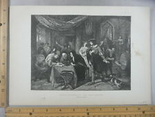 Rare Antique Original VTG 1878 Dutch Interior 17th Century Engraving Art Print