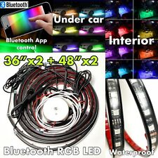 4'x2 3'x2 Wireless Bluetooth LED RGB Under Car Strip Light Glow Waterproof J2
