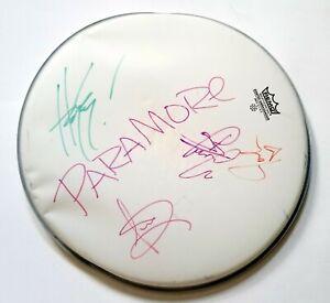 "Paramore REAL hand SIGNED 14"" Studio Used Drumhead #2 JSA LOA Hayley Williams +"