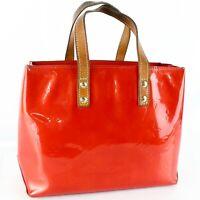 LOUIS VUITTON READE PM Hand Bag Purse Monogram Vernis Leather M91088 Rouge Red