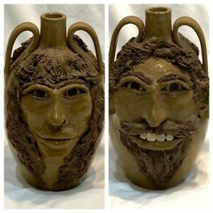 Double-Sided Sandy Cole North Cole Pottery Sandford, NC Woman-Man Face Jug