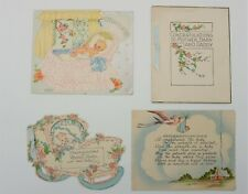Vintage new baby greeting cards x 14, pretty post-war 40s / 50s cards