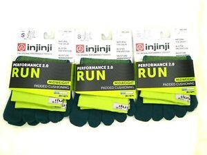 Injinji Run Toe Sock LOT OF 3 Green US S (M 5-7.5/W 6-8.5) Mini-Crew Orig Wt