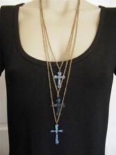 $18 Nordstrom Blue/Green Verdigris Brasstone Chains Triple-strand Cross Necklace
