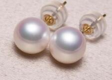 perfect AAAA 7.5mm natural white Akoya round pearl earrings 18K gold