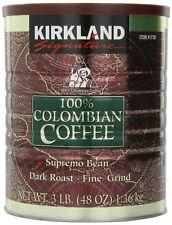 NEW KIRKLAND SIGNATURE 100% COLOMBIAN FILTER COFFEE TIN 1.36KG FINE DARK ROAST..