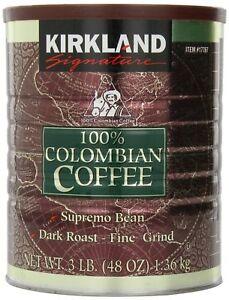 2 x KIRKLAND SIGNATURE 100% COLOMBIAN FILTER COFFEE TIN 1.36KG FINE DARK ROAST..