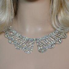 Luxus Strass Collier Kette Kragen Halskette Choker Braut Schmuck klar SWH7 hell