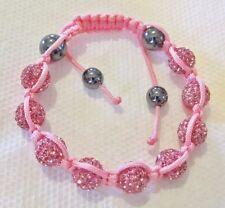 Pink Crystal Macramé Bracelet Adjustable HIP HOP Genuine Crystal Beaded High End