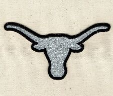 Iron On Embroidered Applique Patch - Silver Glitter Steer Head Longhorn Skull