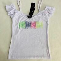 NWT Bebe Logo White Tank Cold Shoulder Rainbow Color Stud Top Shirt S M L XL