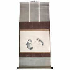 Japan Pair Lovable Puppies Antique Hand-Painted Scroll Signed Early 20th Century