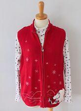 Ugly Christmas Sweater Vest w/ free turtleneck polar Bear Women XL Men M CS31