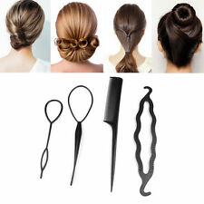 UK BLACK Magic Topsy Tail Hair Braid Ponytail Styling Maker Clip Tool 4pcs/ Set