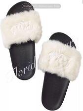 New Victorias Secret PINK Faux Fur Slide Flip Flap Sandal White Big M 7-8 NWT