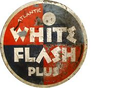 "Tin Sign ""White Flash"" Gas Oil Signs Rustic Wall Decor"
