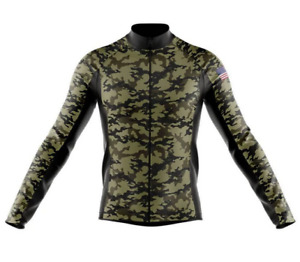 Tactical Camouflage USA Green Novelty Cycling Jersey Long Sleeve