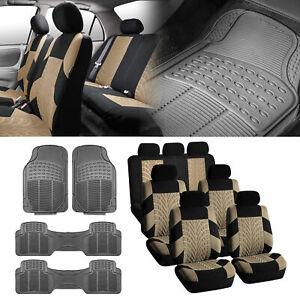 3-row SUV VAN Beige Seat Covers 7 Seaters with Gray Floor Mats For Sedan SUV Van