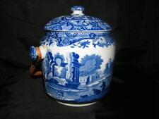 Vintage Spode Blue Italian biscuit barrel 1930s - BLUE makers mark         s1751