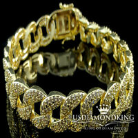 NEW MENS WOMENS 14K YELLOW GOLD FINISH ICED OUT LAB DIAMOND CUBAN CURB BRACELET