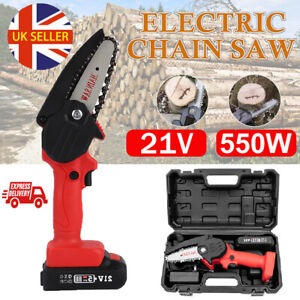 Mini Cordless Chainsaw Electric One-Hand Saw Wood Cutter + Rechargeable Battery