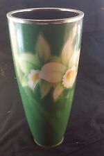 Mid Century Japanese Ando Cloisonne Enamel Vase Two Orchids on Green Background