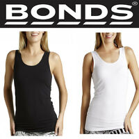 Bonds Womens Stretch Chesty Singlet Top Tee Long Underwear Black White WYEXY