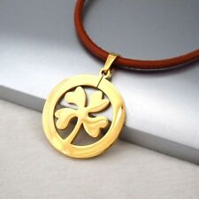 Gold Irish Celtic Four Leaf Clover Pendant Womens Mens Brown Leather Necklace