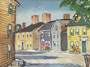 Antique Franklin ST. MARBLEHEAD Art Center ORIGINAL Watercolor PAINTING Signed
