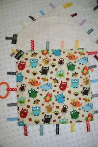 Taggie Blanket, Taggy, security blanket,bright owls minky backing
