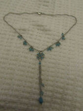 "Bead Chain Dangly Necklace - 22"" long Silver Tone Turquoise Blue Glass & Stone"