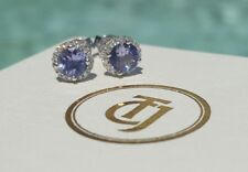 0.80tcw Tanzanite and 0.10tcw Diamond Stud Earrings 18ct 18k White Gold by CTJ