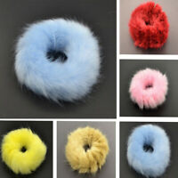 Girls Fluffy Faux Scrunchie Rope Band Elastic Furry Fur Hair Ring 2Pcs New Kids