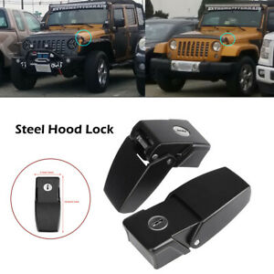 For Jeep Wrangler TJ Pair Hood Latches Steel Hood Lock Catch Latches Kit Black