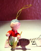 Grandmother with Straw Broom Miniature Wooden Ornament Christmas vintage 1990s