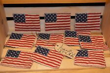 10 Primitive Quilted AMERICANA FLAGS Ornies Flats Fillers Tucks Wreath Make Do's