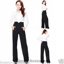 RK102 Black Trousers Pants Rockabilly Vintage Retro 40s Pin Up Flare Wide Leg