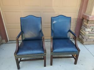 2 HANCOCK & MOORE Mahogany & Leather Chairs