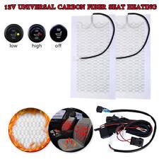Car Seat Carbon Fiber Heated Seat Heater Pad H/ L Round Switch Kit Universal NEW