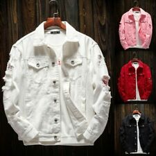 New Mens Denim Jacket Button Hip Hop Bomber Jacket Hole Casual Cotton Jean Coat