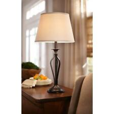Hampton Bay Rhodes 28 in. Bronze Table Lamp with Natural Linen Shade